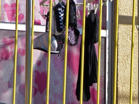 サテンパンティが干されたベランダの下着盗撮エロ画像3枚目