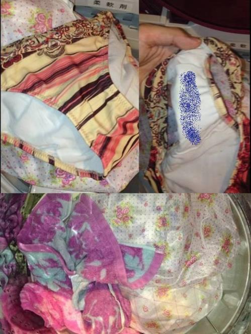 jk妹のクロッチ汚れ洗濯機の中の下着盗撮エロ画像4枚目