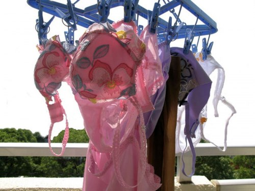 ベランダのピンクパンティ姉妹下着盗撮エロ画像9枚目