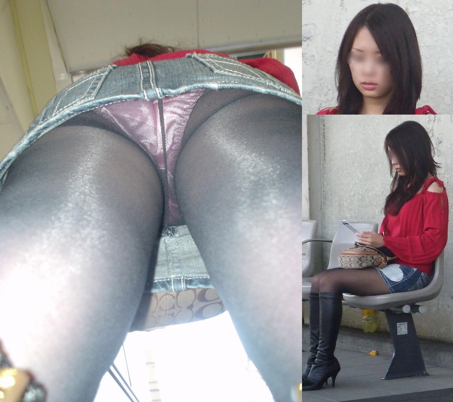 キャバ嬢や女子大生のサテン下着盗撮エロ画像15枚目