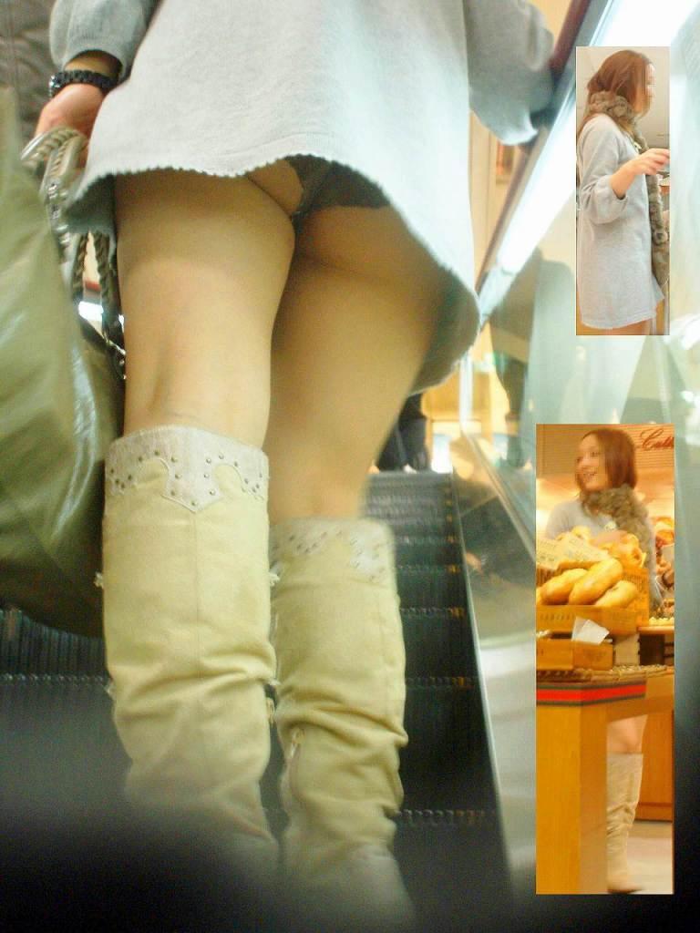 ヤリマン女子大生のミニスカ階段下下着盗撮エロ画像12枚目