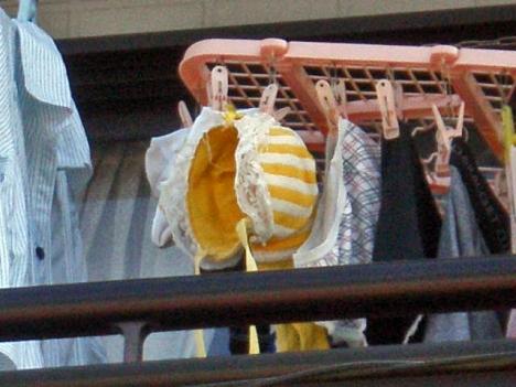 地味なアパートに派手なベランダの下着盗撮エロ画像2枚目