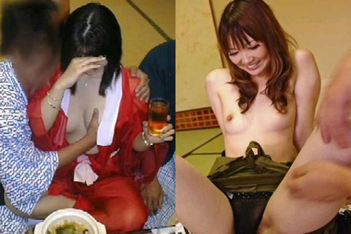 まん芸を温泉宴会で披露するピンクコンパニオン流出エロ画像13枚目