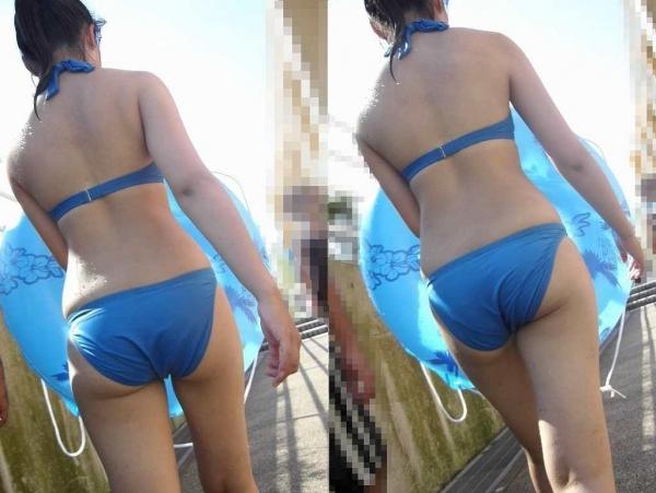 水着跡素人女子大生の半ケツ食い込み盗撮写メ流出エロ画像4枚目