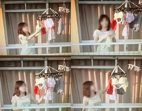ベランダで派手な下着を干す姉の姿を盗撮したエロ画像6枚目