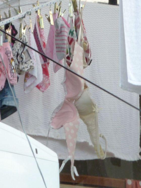 Bカップjk妹のベランダのブラジャー下着盗撮エロ画像1枚目