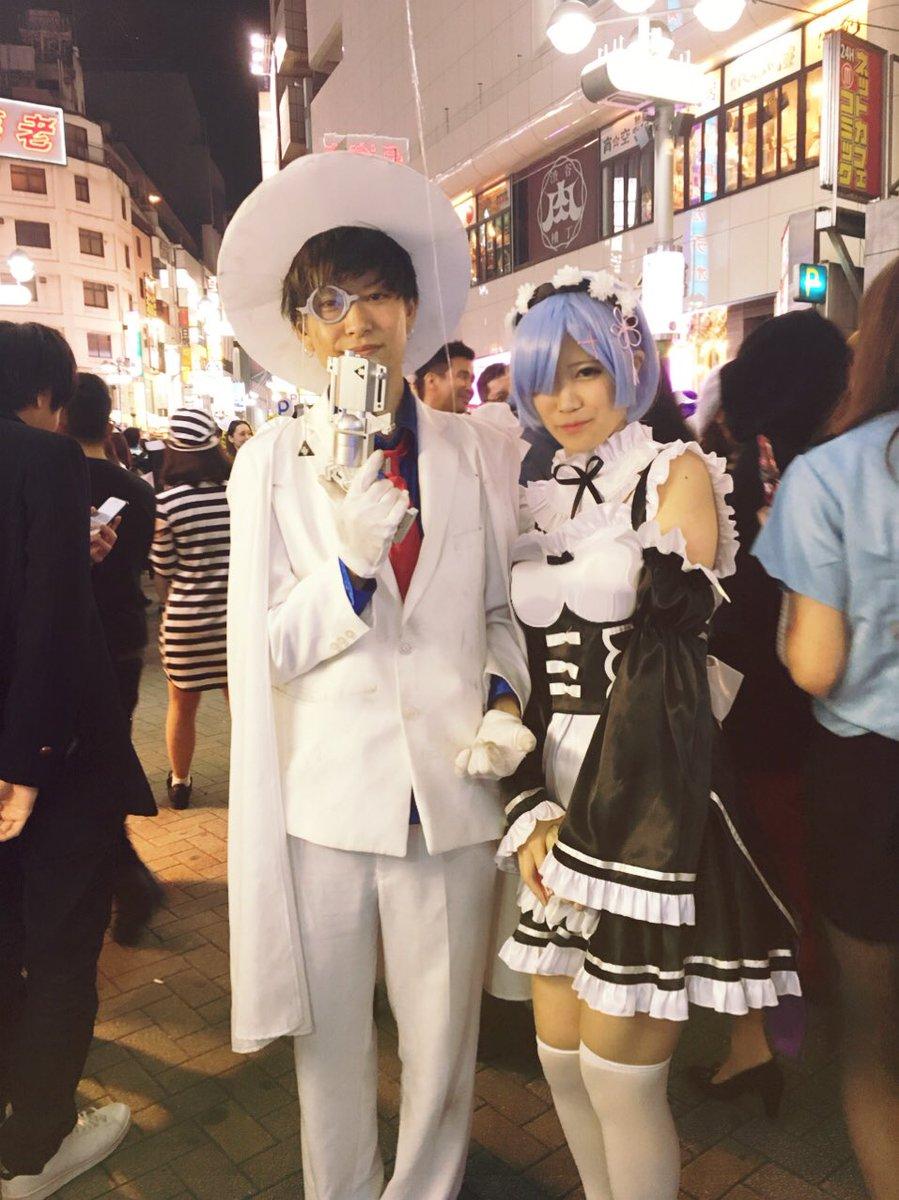 渋谷で自撮りするオフパコハロウィンjk胸チラエロ画像14枚目