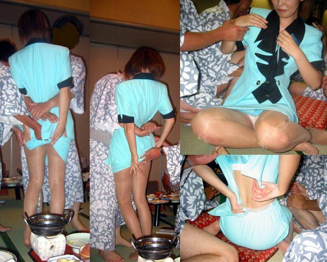 熟女ピンクコンパニオンが宴会場で生着替えなエロ画像15枚目