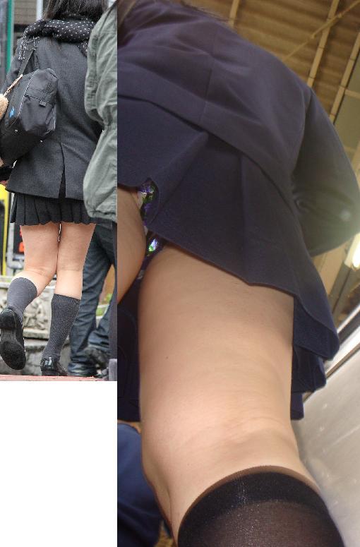 jkのミニスカ下着のエスカレーター逆さ撮り盗撮エロ画像2枚目