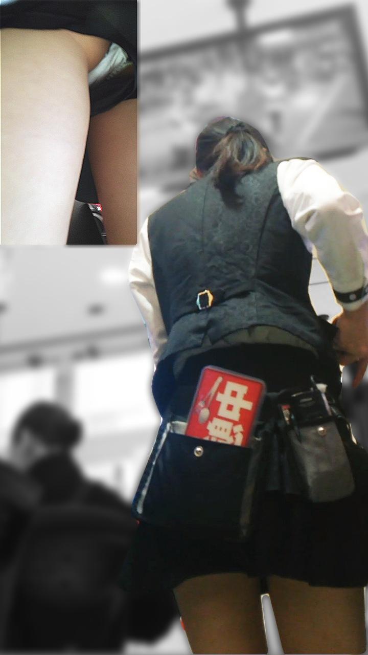 制服の隙間から下着盗撮されたパチンコ屋店員エロ画像