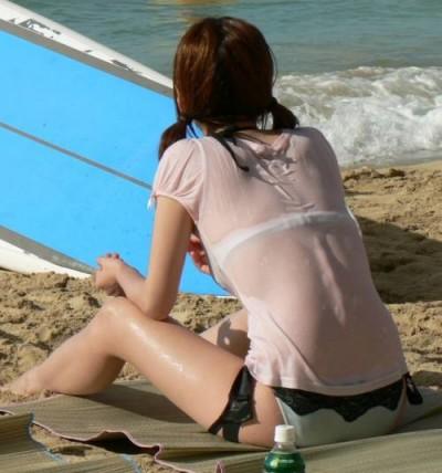 女子大生のインスタ映えしそうな透け水着のエロ画像10枚目
