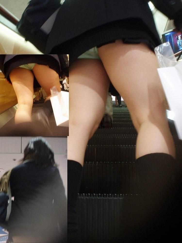 通学jkの早朝ラッシュに紛れ込み階段で下着盗撮エロ画像8枚目