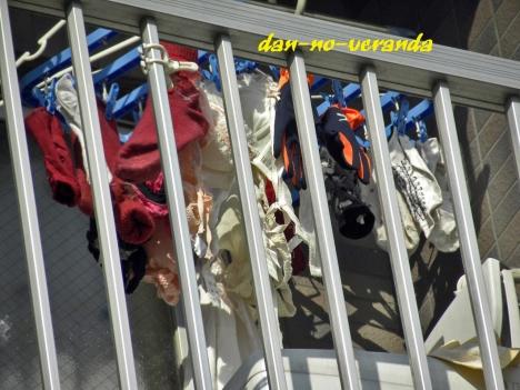 小ぶりなBカップブラジャーのベランダの下着エロ画像5枚目