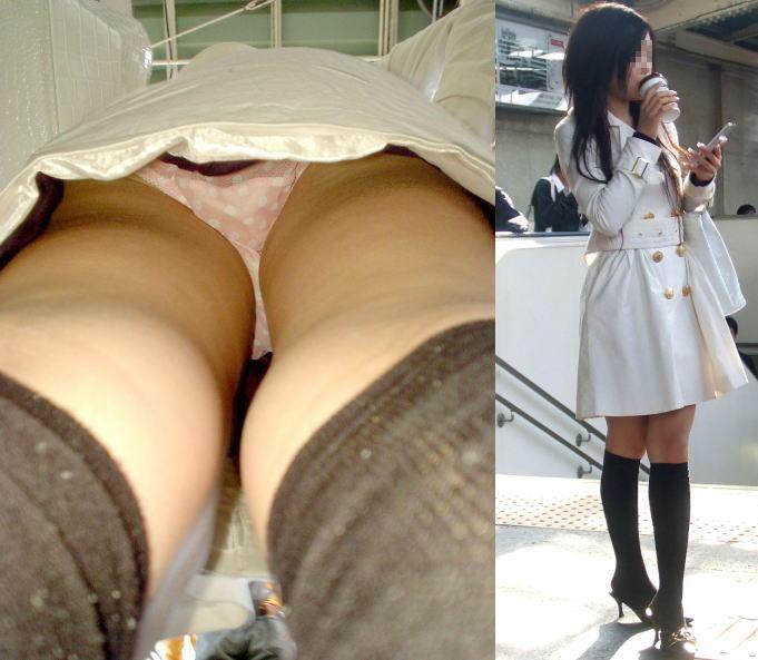 携帯に夢中な隙きに女子大生の逆さ下着盗撮エロ画像1枚目