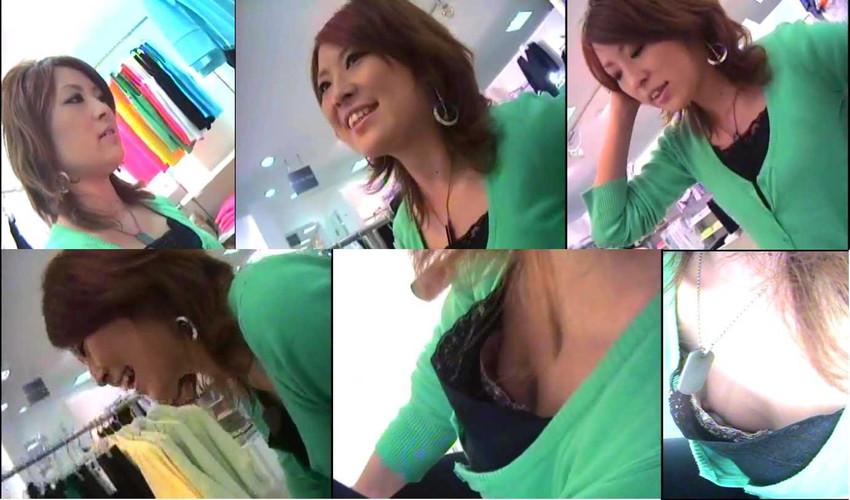 貧乳気味の店員さんの浮きブラ胸チラ盗撮エロ画像14枚目