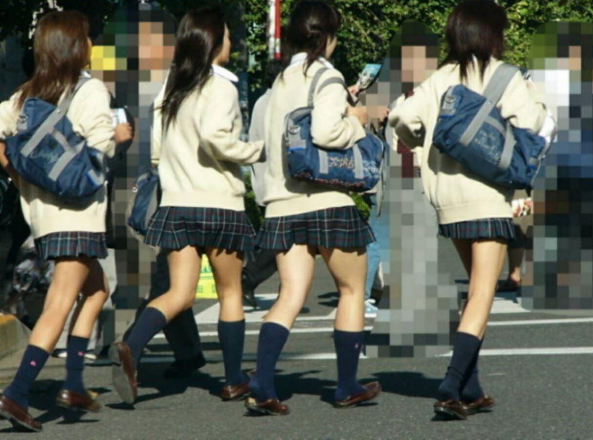 制服JKのエロ過ぎるミニスカート姿を激写した画像10枚目