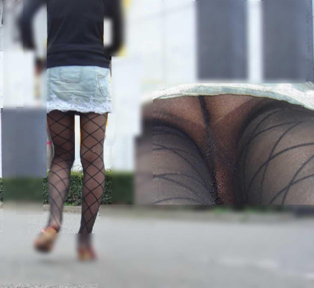 豹柄下着を食い込ませる逆さ女子大生盗撮エロ画像4枚目
